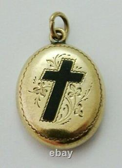 Antique Victorian c1890 12ct Gold Mourning Locket with Black Enamel Cross