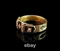 Antique Victorian diamond mourning ring, 15ct gold, black enamel and seed pearl