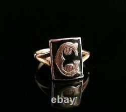Antique Victorian mourning ring, initial C, 9ct Rose gold, black enamel