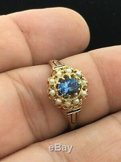 Antique (ca. 1895) 14K Yellow Gold Aquamarine Seed Pearl Ring with Black Enamel