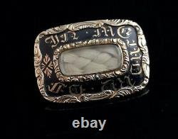 Antique mourning brooch, Victorian, 15ct gold and black enamel, hairwork