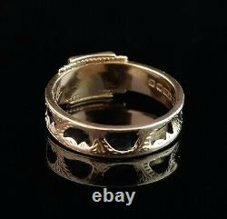 Antique mourning ring, Victorian 15ct gold, pearl and diamond, black enamel