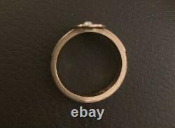Antique pearl black enamel mourning ring gold