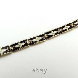 Art Nouveau 14K Gold Black & White Enamel Flower Floral Link 7 Bracelet 9gr