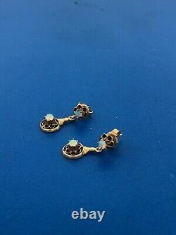 Art Nouveau Art Deco 14K Yellow Gold Opal Black Enamel Flower Drop Earrings