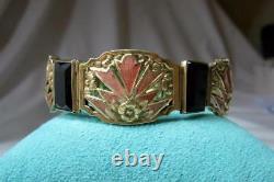 Art Nouveau Bracelet 14K Gold Enamel Black Onyx Belle Epoque Museum Quality Rare