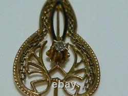 Art Nouveau Estate 10k Yellow Gold Diamond Pearl Black Enamel Lavalier Pendant