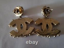 Auth. Chanel 12a Drop Dangle Pierced Earrings Gold Black Enamel, Peals Crystals