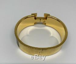 Auth HERMES Clic Clac H bracelet cuff enamel bangle gold black large with box bag