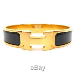 Auth HERMES Clic Clac PM Enamel Black Gold Tone Brass Bangle Bracelet #S109035