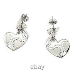 Auth ROBERTO COIN 18K White Gold Diamonds & Black Enamel Heart Earrings U321