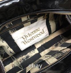 Auth Vivienne Westwood Black Gold Heart Orb Motif Bag Enamel Japan Exc+ 3220cm