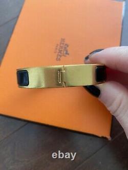 Authentic 100% Hermes Clic Clac H Bracelet Enamel Black and Gold