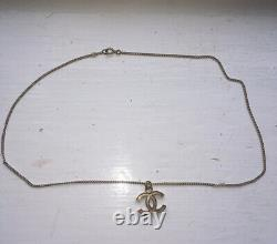 Authentic CHANEL CC Logo Chain Necklace Black/Gold Tone Enamel/Metal Used