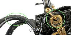 Authentic Christian Dior Enamel Lady Dior Hand Bag Used F/S