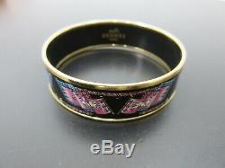 Authentic Excellent HERMES Enamel Bangle Black Multi Color Gold Tone Box 74181 B