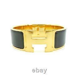 Authentic HERMES Clic Clac GM Enamel Black Gold Tone Bangle #S407007