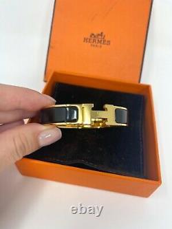 Authentic Hermes Clic H Enamel Bracelet Gold Narrow Bangle Black PM BRAND NEW