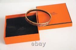 Authentic Vintage Hermes Enamel Bangle Bracelet Hermes Ribbon Gold Black Red