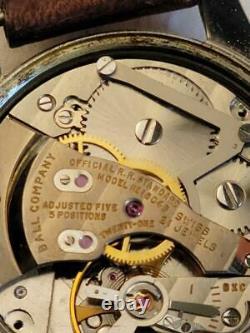 BALL OFFICIAL STANDARD TRAINMASTER MENS WRIST WATCH 1604B 21 JEWEL RAILROAD 34mm