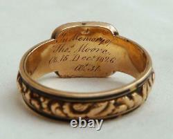 Beautiful 18ct gold georgian black enamel hair memorial ring c. 1804 Size S