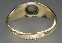 Beautiful Antique Victorian 9K Gold Black Enamel Pearl Stars Mourning Ring Sz 7
