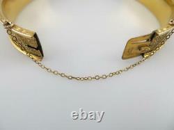 Bigney Victorian Taille D'Epargne Black Enamel Gold Filled GF Bangle Bracelet