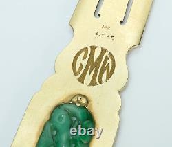 Black Starr & Frost Carved Jade Gold Enamel Vintage Letter Opener