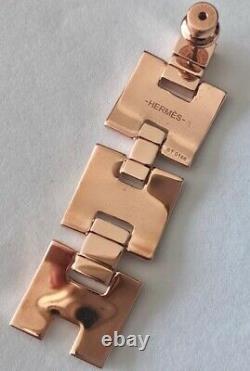 Brand New & Authentic Hermes Eileen Long H Earrings Rose Gold Black Enamel SAVE