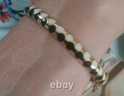 CARINO 14k gold black & white Enamel DOT Bangle /Bracelet Rare Stunning Piece