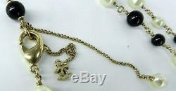 CHANEL Black & White 2012 COLLECTION CC ENAMEL 46 LONG PEARL & BEAD NECKLACE