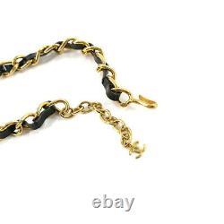 CHANEL Chain Choker Necklace Enamel Rhinestone Black Gold 95P Vintage 90111334