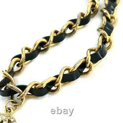 CHANEL Chain Choker Necklace Enamel Rhinestone Black Gold 95P Vintage 90121627