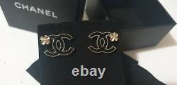 CHANEL Enamel CC 4 leaf Clover stud Earrings Black Gold