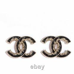 CHANEL Enamel chain cc Baroque Earrings Black Gold