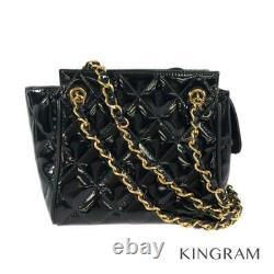 CHANEL Matrasse Chain Black x Gold Hardware enamel Women's handbag from Japan