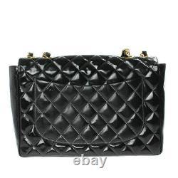 CHANEL Quilted Chain Shoulder Bag Large / Jumbo Enamel Leather Black Gold Good