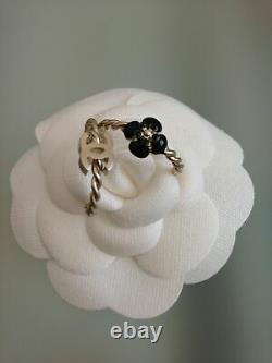 CHANEL RING SET! Logo Camellia Gold-Tone Black Enamel Set Size 7 New in Box