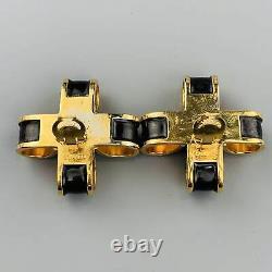 CHANEL VINTAGE Black & Gold Tone Enamel Pearl Bow Cross Clip On Earrings