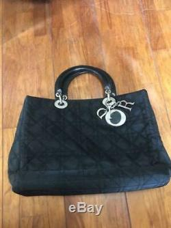 CHRISTIAN DIOR Lady Dior Cannage Tote Hand Bag Enamel x Nylon Black Gold Used