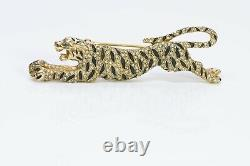 CINER Gold Tone Black Enamel Crystal Tiger Jaguar Brooch