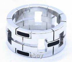Cartier Paris Black Enamel Dragon 18 Kt White Gold Ring With Box Unisex S-8.5