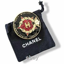 Chanel 2009 Black/Red PARIS MOSCOU Enamelled Brooch, Rare in Pochette