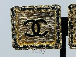 Chanel France Vintage Authentic Gold Plated Black Enamel Logo Clip Earrings