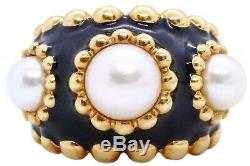 Chanel Paris 18 Kt Gold Black Enamel Ring With 3 Genuine Pearls Exceptional Rare
