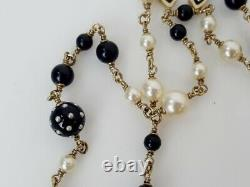 Chanel Pearl Black Enamel CC Logo Gold Tone Link Long Necklace with Box