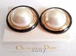 Christian Dior Signed Clip Earrings Gold Plated with Faux Pearl & Black Enamel