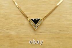 Christian Dior Signed Vintage Collar Necklace Black Enamel Rhinestone Gold 1D