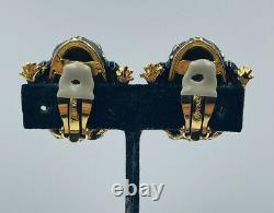Ciner Vintage Gold Plated Black Enamel Green Eyes Frog Clip Earrings