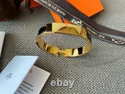 Classic Hermes H Clic Clac Bracelet GHW GOLD BLACK Enamel PM Narrow Bangle